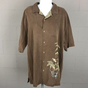 Tommy Bahama Men's Button Up Shirt Size L Brown DY